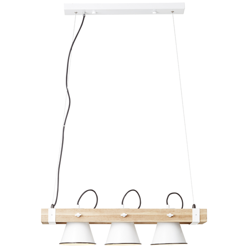 Brilliant hanglamp Plow wit hout 3xE27