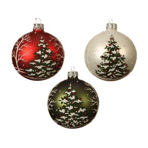 Boules de Noël verre sapin rouge/vert 1 pièce