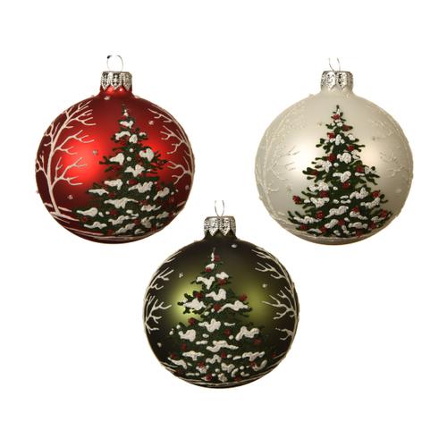 Kerstballen glas kerstboom kerstrood/dennengroen 1 stuk