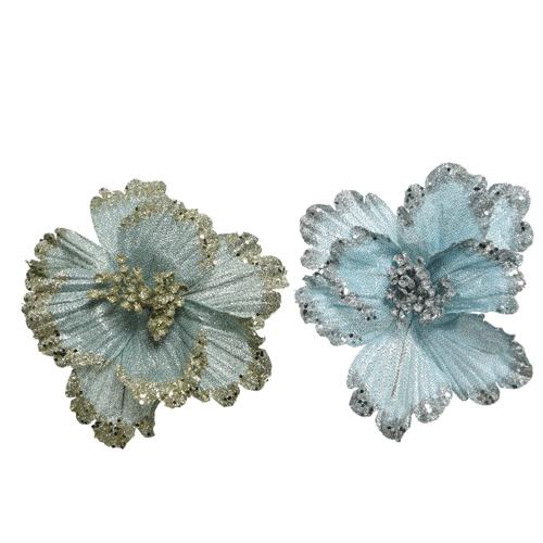 Hangertje bloem lichtblauw/lichtgroen glitter