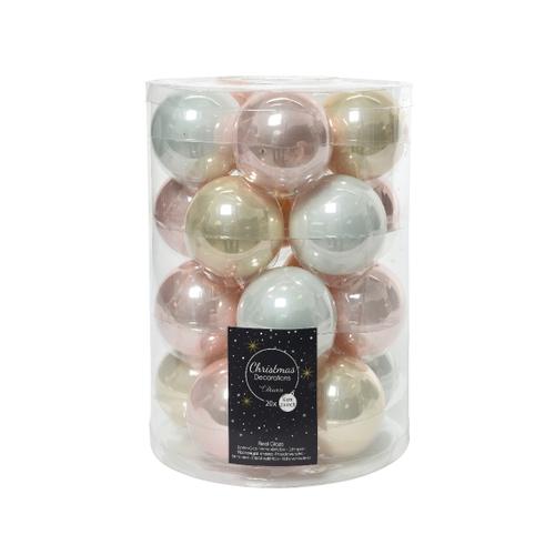 Kerstballen glas lichtroze 20 stuks
