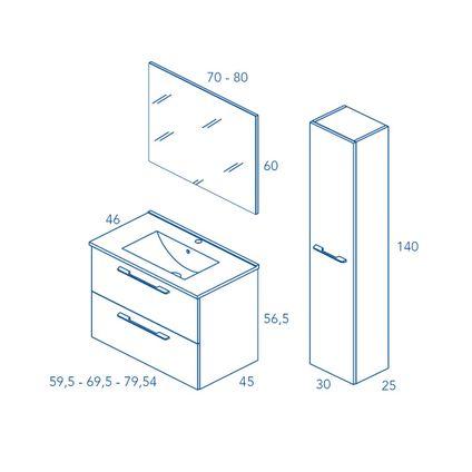 Meuble de salle de bain Royo Level blanc brillant 70cm