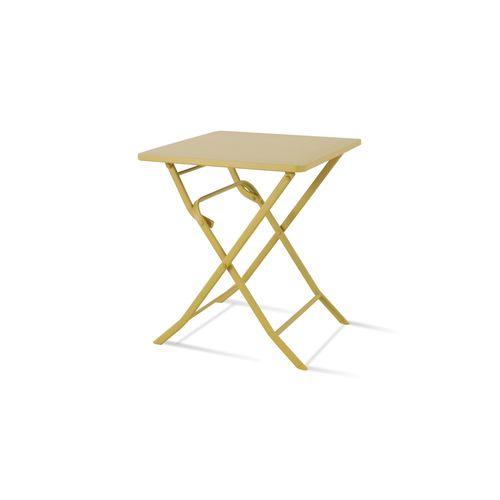 Table de bistrot Central Park Stacy jaune acier 60x60cm