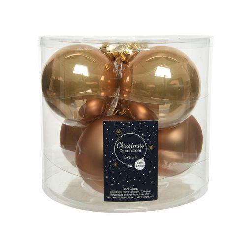 Kerstballen Glas 8cm caramel 6 stuks