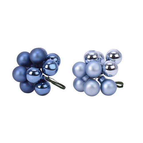 Boules de Noël Decoris grappe bleu 10pcs