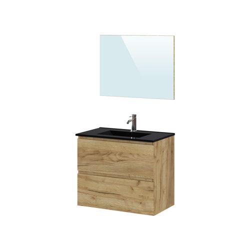 Meuble de salle de bains T-Bath Mystic mélamine chêne rustique/noir 80cm