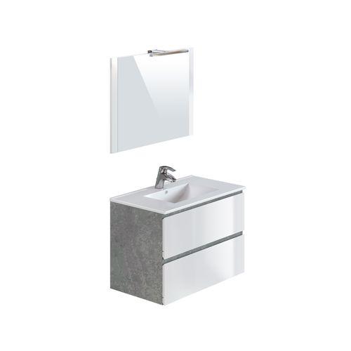 Meuble de salle de bains T-Bath Milenio béton/blanc brillant 80cm