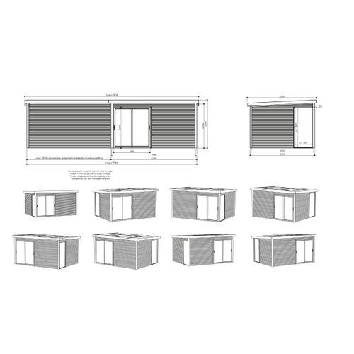 Solid abri de jardin en bois 'Tavira' 404 x 304 + max. 395 cm