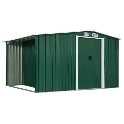VidaXL tuinhuis + haardhoutberging metaal groen 329,5x131cm