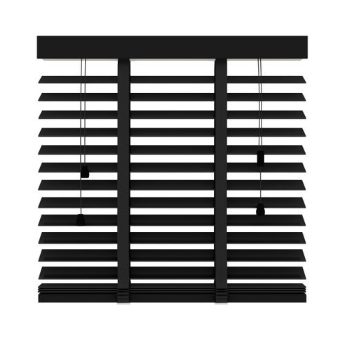 Decosol jaloezie horizontaal hout matzwart 50mm 80x130cm