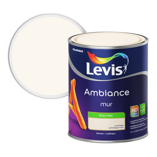 Levis muurverf Ambiance Muur ivoor beige extra mat 1L