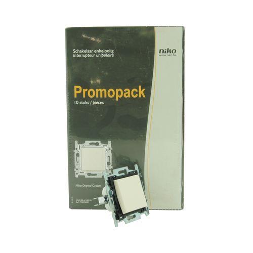 Interrupteur unipolaire Niko Eco Original blanc crème 10 pcs