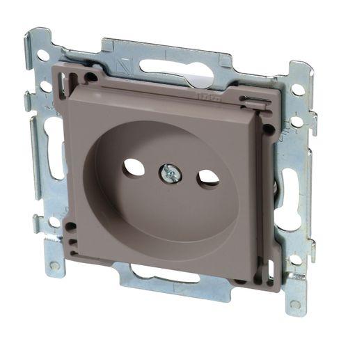 Niko stopcontact 2P zonder aarde 21 mm grijsbeige