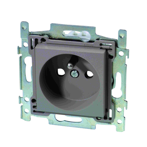 Niko stopcontact 2P plus A 28,5 mm grijsbeige