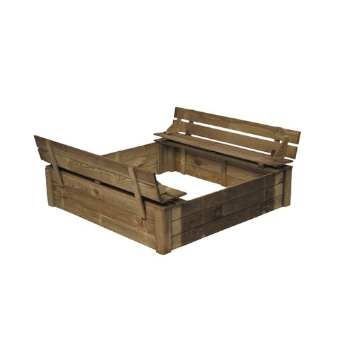 Zandbak met geïntegreerde banken hout 120x120cm