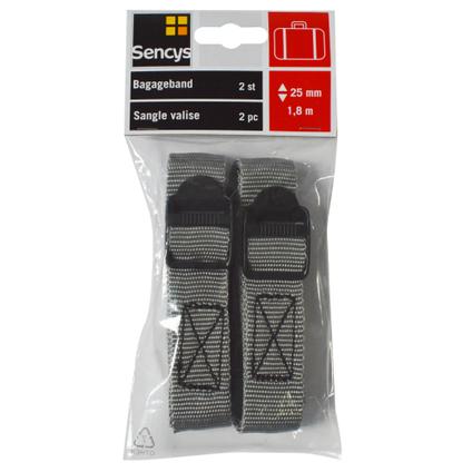 Sangle Sencys PES gris 25 mm x 1,8 m - 2 pcs