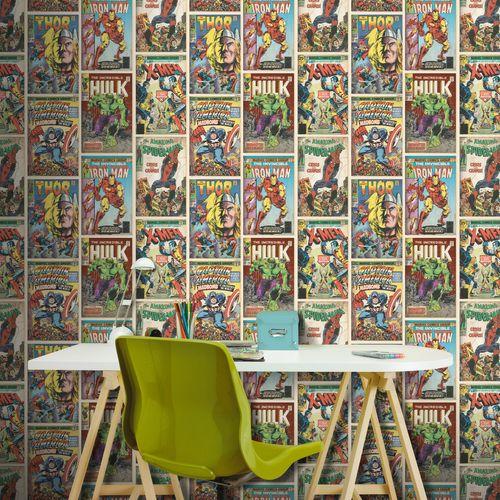 Papier peint Disney Marvel Action heroes multicolore