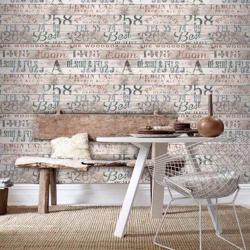 Decomode vliesbehang Hout met tekst meerkleurig
