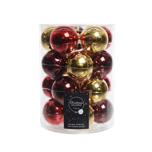 Kerstballen glanzend Classic Twist rood/goud 20 stuks