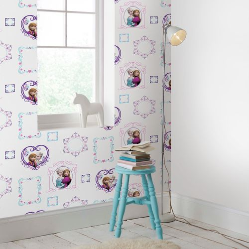 Papier peint Disney Reine des Neiges Frames blanc lila rose