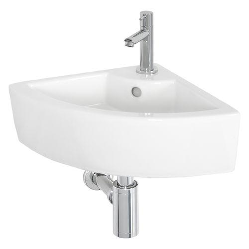 Lave-mains de coin AquaVive Midou céramique blanc 32,5cm