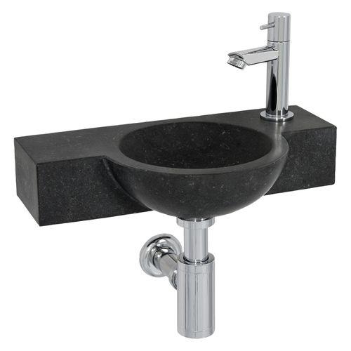 Lave-mains Aquazuro Stirone pierre naturelle noir 40cm