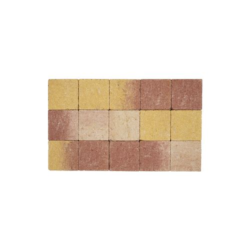Pave tambouriné in-line brun jaune 15x15x6