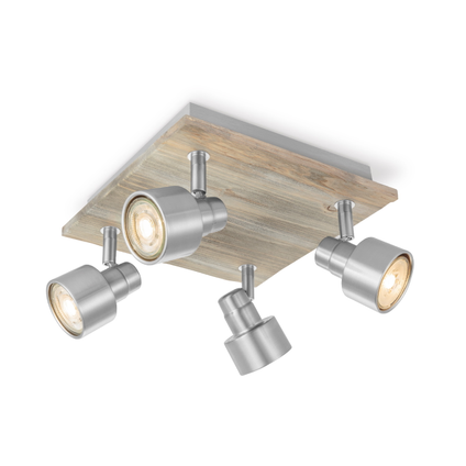 Home Sweet Home spot LED Drift mat staal 23cm 4x5,8W