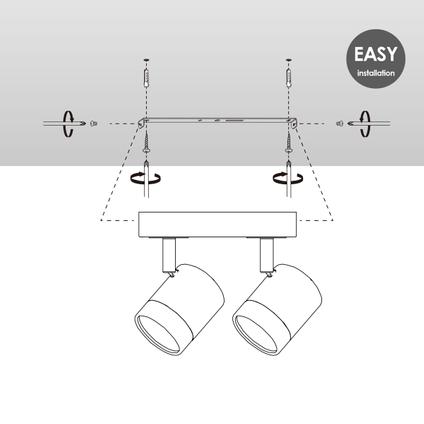 Home Sweet Home spot LED Manu zwart 16cm 2x5,8W
