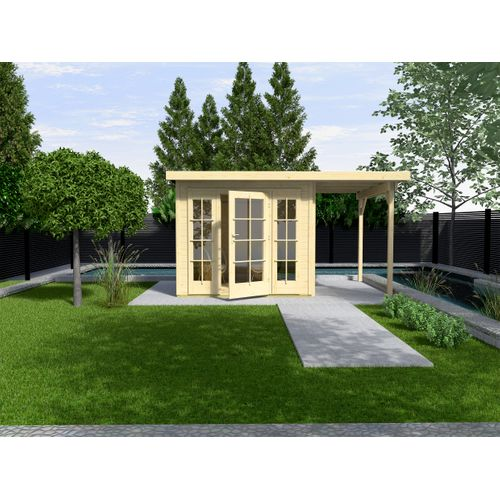 Weka tuinhuis met overkapping 172 Type B GR2 1D2R 300x590cm