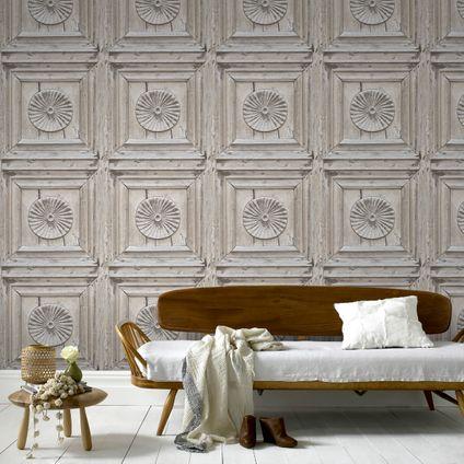 Decomode vliesbehang Wood panel warmgrijs