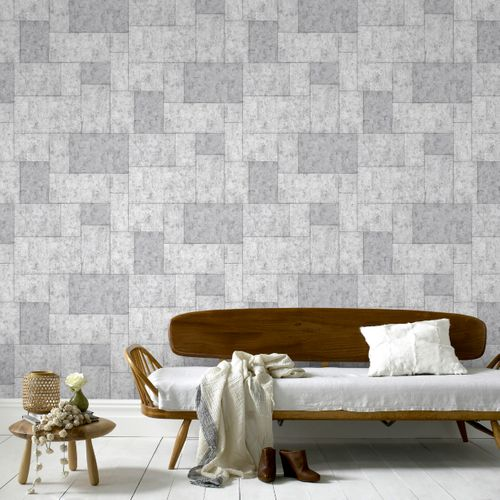 Sublime vliesbehang Tiles lichtgrijs