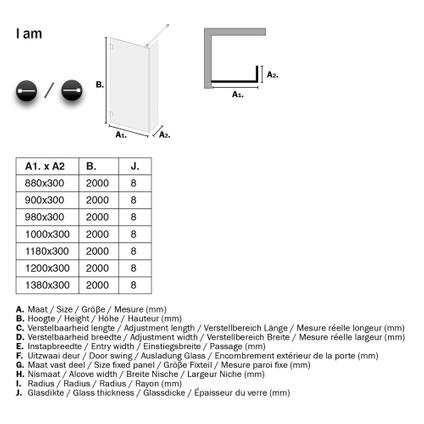 Sealskin Get Wet I AM inloopdouche Walk in type A1 100x30cm RVS (look) | 8mm helder veiligheidsglas + antikalk