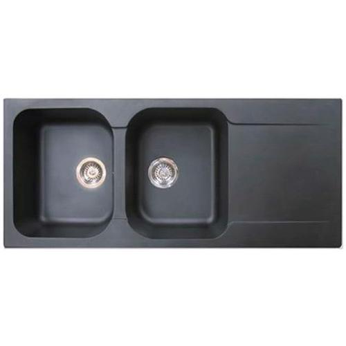 EsseBagno spoelbak Lisse zwart 2 bakken 116x50cm
