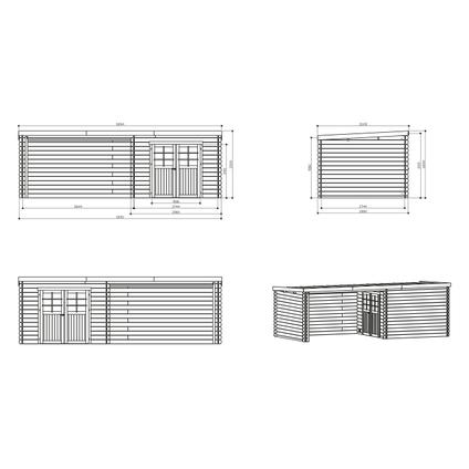 Solid tuinhuis 'Rohan' geïmpregneerd hout 7,53 m²
