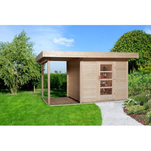 Weka tuinhuis met overkapping 172 Type A GR1 240x385cm