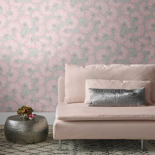 Sublime vliesbehang Gingko grijs roze