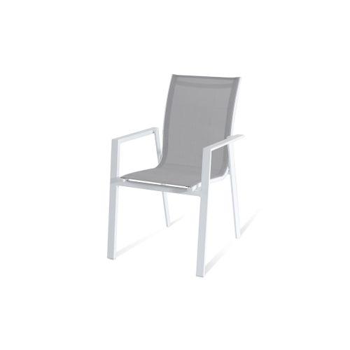 Chaise de jardin Central Park Anzio aluminium / textilène blanc 57x92cm