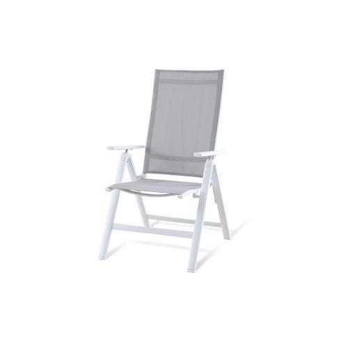 Chaise de jardin Central Park Anzio aluminium / textilène blanc 60,5x111cm