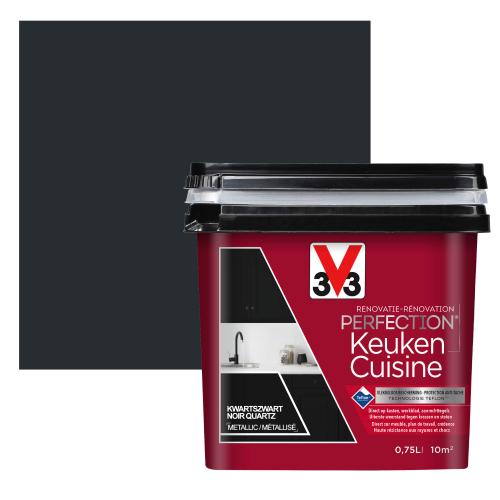 V33 keukenverf Renovation Perfection kwartszwart satijn 750ml